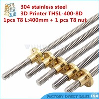 Free shipping RepRap 3D Printer THSL 400 8D T type stepper motor Lead Screw Dia 8MM Thread 8mm Length 400mm with Copper Nut|Linear Guides|Home Improvement -