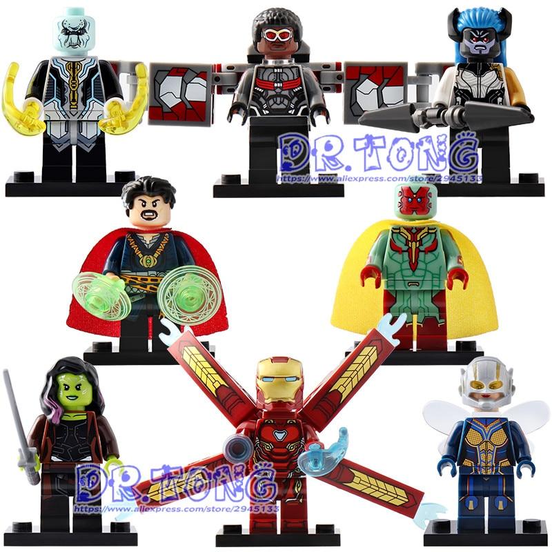 Single Sale SuperHero Infinity War Figure Iron Man Avengers Doctor Stranger Falcon Proxima Night Building Blocks Toys X0187