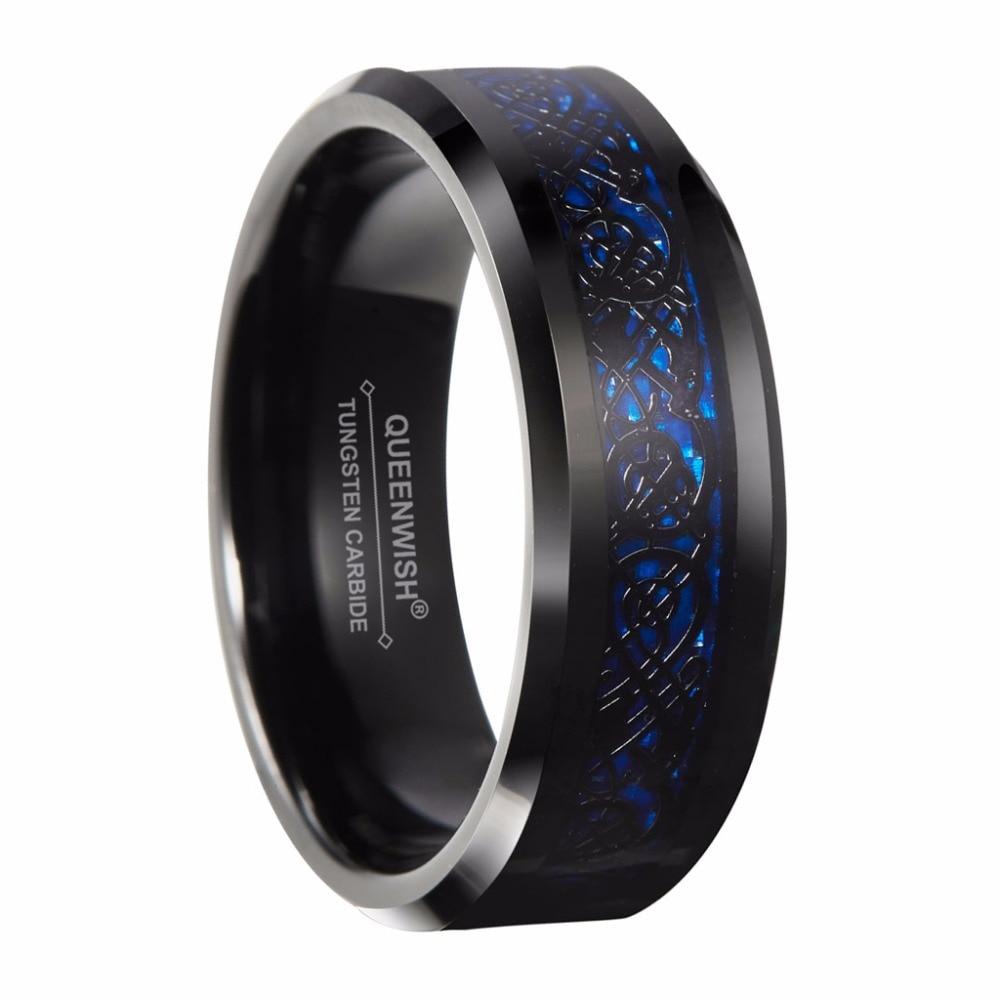 Queenwish 8mm Black Tungsten Carbide Ring Silver Color
