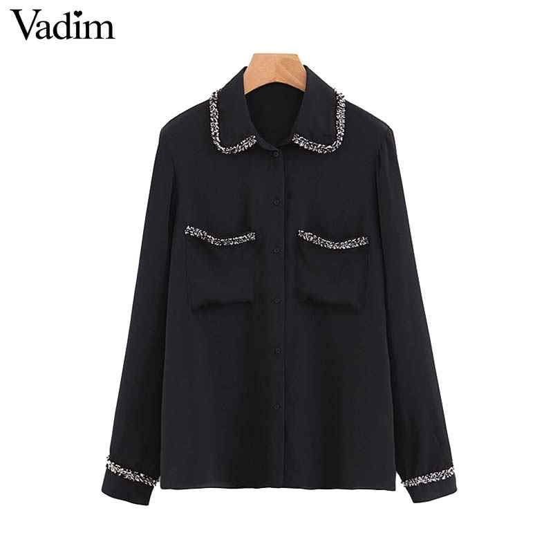 Vadim women black chiffon blouse tweed patchwork pocket long sleeve turn down collar female casual shirts chic tops blusas LB041