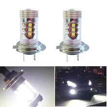 LED Fog Light  H7 3030 LEDx16 80W 6500K -7000K White Light LED Bulb for Car bulb LED Fog Bulb Headlight for Car DC12-24V Bulbs цена 2017