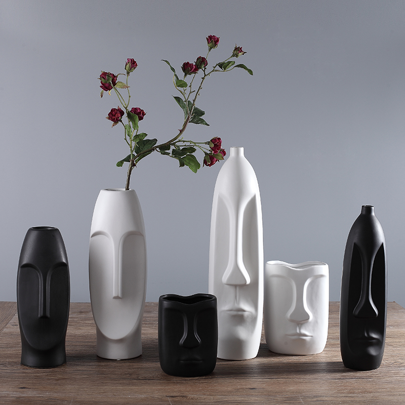 Nodic Design Black White Vase Quality Matt Simple Human Face Decorative Vase Jar Display Room