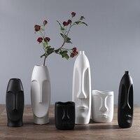 Nodic design czarny/biały wazon jakości Matt prosta ludzka twarz wyświetlacz pokoju dekoracyjne dekoracyjne wazy słoik figue kształtu głowy wazon