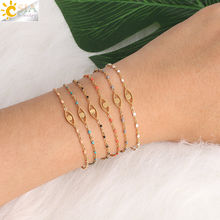 CSJA Stainless Steel Bracelets for Women Gold Color Link Chain Mini Beads Turkish Evil Eye Femme Dainty Bracelet & Bangle S406(China)
