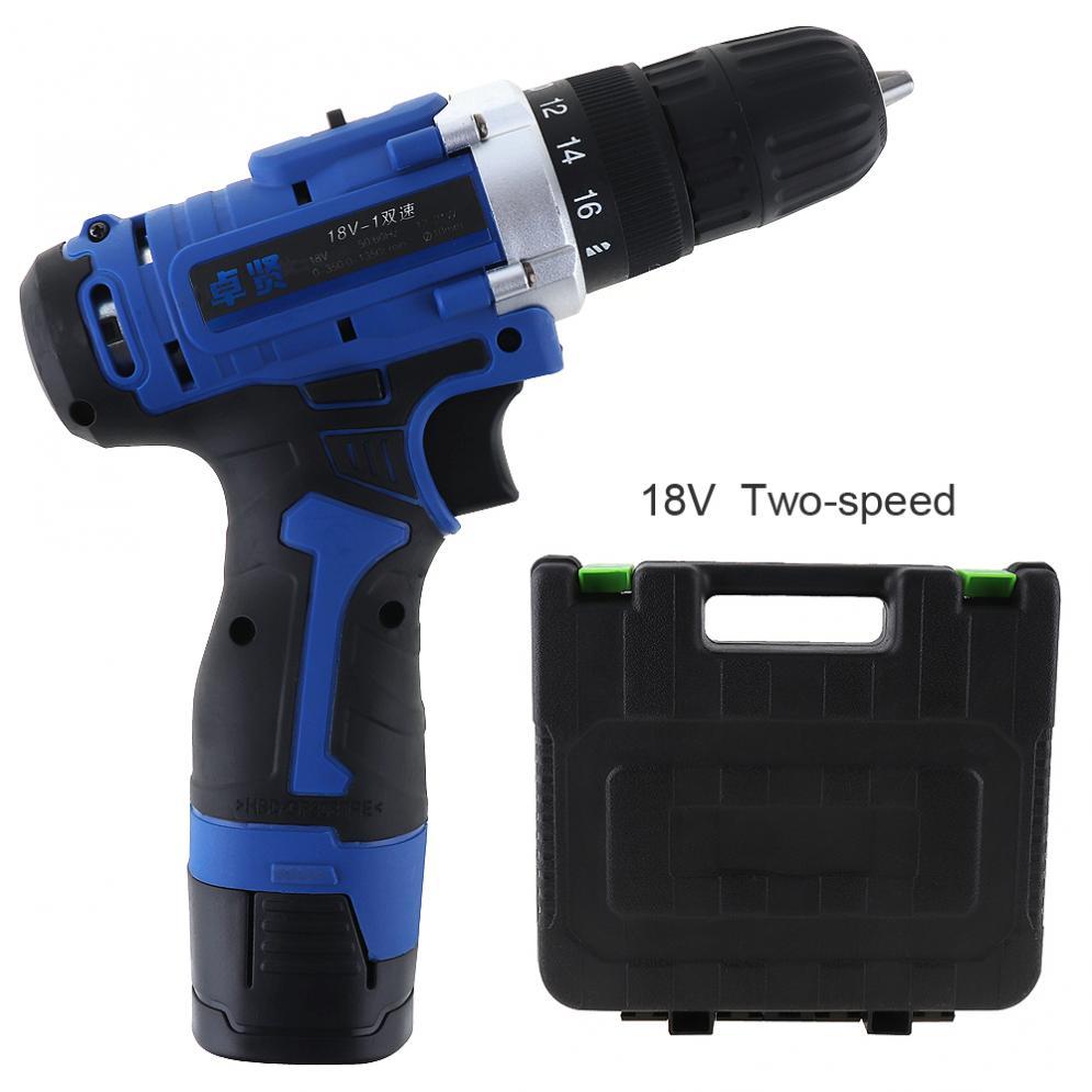 Perceuse électrique 100-240 V sans fil 18 V perceuse électrique Rechargeable boîte à outils avec interrupteur de Rotation pour la manipulation des vis/poinçonnage