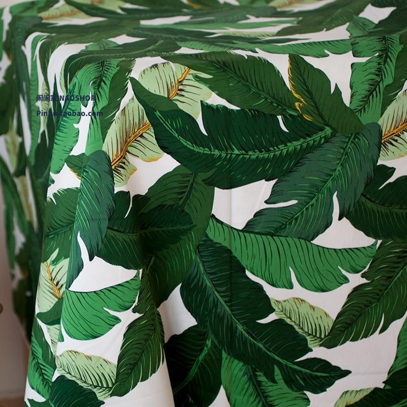 50x140 cm Green Leaf Stoff Diy Stoff Dicke Stretch von Satin Hawaii Weihnachten Tuch Machen Taschen Kleid Machen Bettwäsche Kissen
