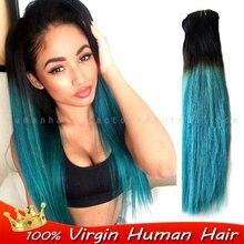 Ombre Human Brazilian hair weave bundles Extension two Tone Color 1b/blue BLACK/TEAL Virgin straight bundles rosa Natural hair