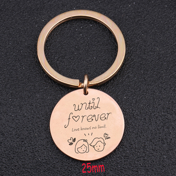 Until Forever Love Knows No Limit Keychain Charm Lover Key Fobs Stick Figure Lover Hand Stamped Key Ring Trendy Jewelry