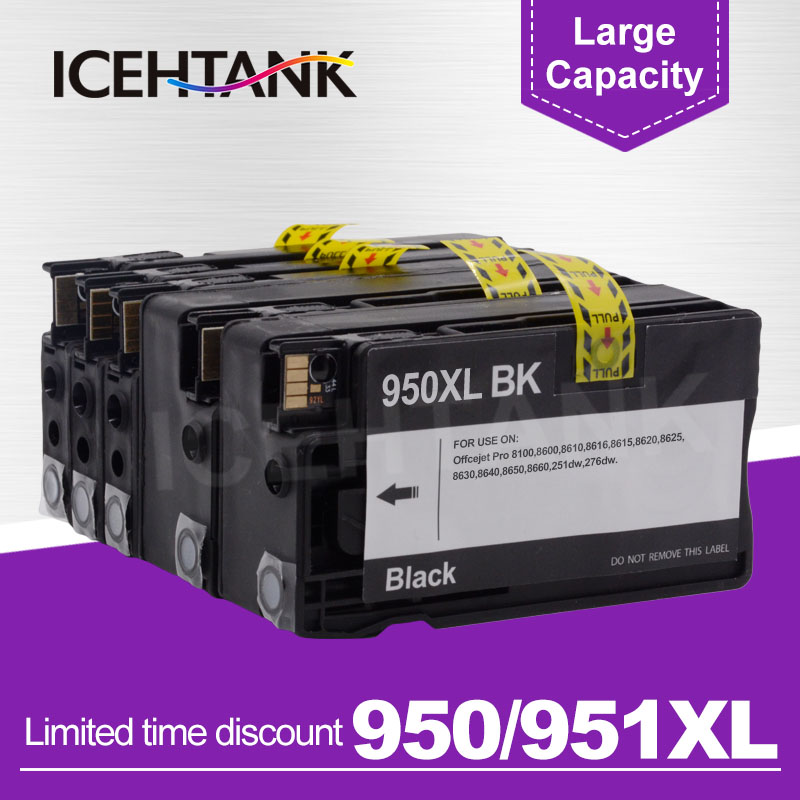ICEHTANK Ink Cartridge Replacement for HP 950 951 XL for HP950 Officejet Pro 8100 8600 8610 8620 8630 251dw 276dw 8650 PrinterICEHTANK Ink Cartridge Replacement for HP 950 951 XL for HP950 Officejet Pro 8100 8600 8610 8620 8630 251dw 276dw 8650 Printer