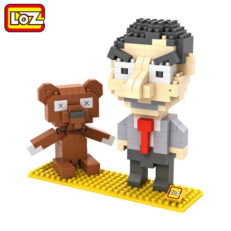 LOZ Mr. Bean And Teddy 3D Model Action Figure Toy Diamond Building Blocks Original Box 14+ Gift 9507 mr bean
