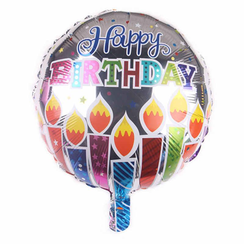 Gogo paity novo 18 polegada redonda feliz aniversário balão de alumínio festa de aniversário evento decoração balão atacado