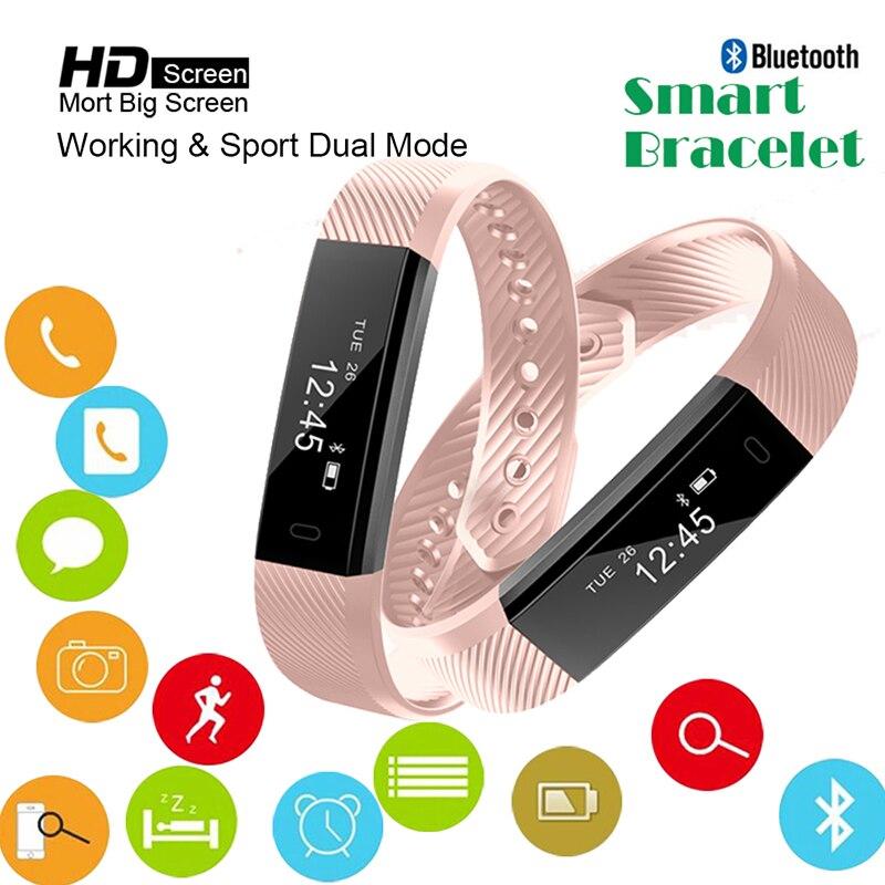 Bluetooth inteligente reloj de las mujeres deporte impermeable pulsera Fitness podómetro pulsera inteligente ID115 Smartband para IOS Android