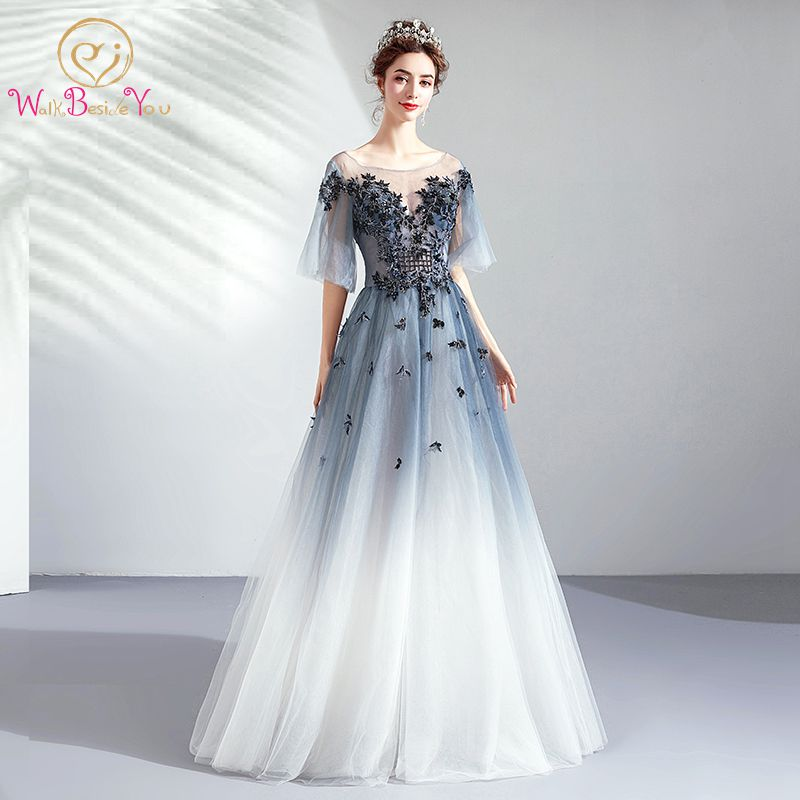 Graduate   Prom     Dresses   Long 2019 Half Sleeves Lace Appliques Beading Navy Blue White Gradient A Line Keyhole Evening Gowns Stock