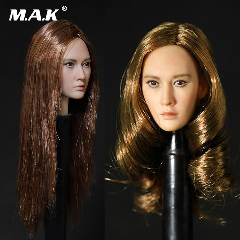 Collection 1/6 Female Asian beauty head Long Hair Head Sculpt Carved For 12''suntan color Body Action Figures