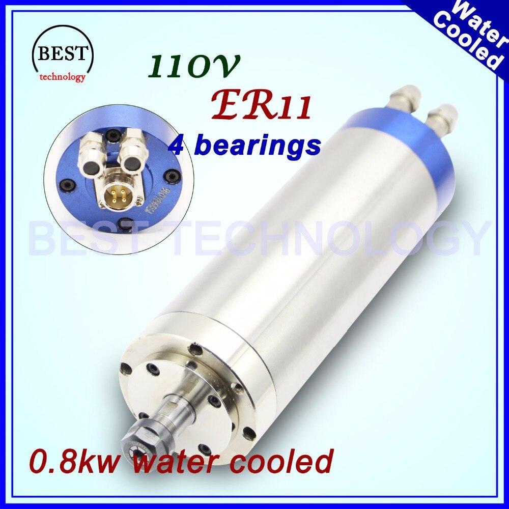 New arrivel! 110v 800w water cooled spindle motor ER11 wood working spindle 0.8kw 400Hz CNC engrave water cooling 4 Bearings цены