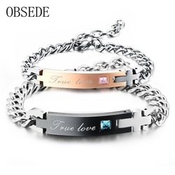 Obsede true love couple bracelet with crystal stainless steel bracelet pair bracelets cross charm for women.jpg 250x250