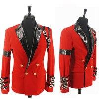 Прохладный MJ Майкл Джексон Bad Повседневное церемония награждения красный костюм Блейзер пряжкой в стиле панк Куртка классная XXS 4XL