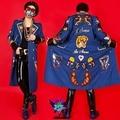 Синий длинный мужской пиджак блейзер пиджаки пальто мужской костюм для певица танцор ds dj джаз производительность ночной клуб бар бар моды