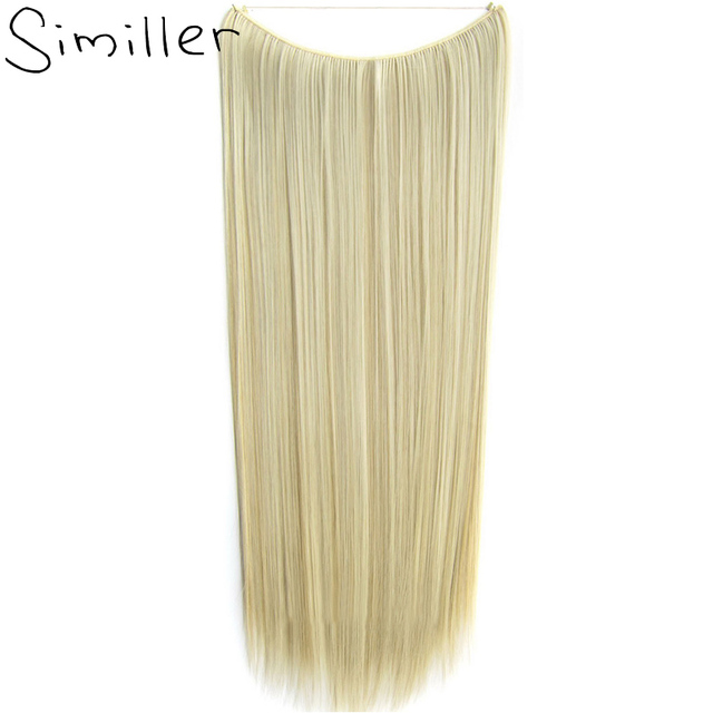 Similler women gold one piece hair extensions natural straight similler women gold one piece hair extensions natural straight 60cm long high tempreture synthetic hairpiece 100grams pmusecretfo Gallery