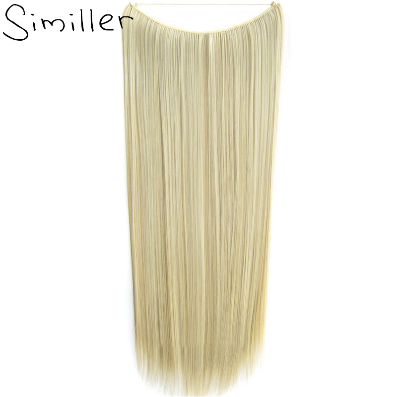 Similler Women Gold One Piece Hair Extensions Natural Straight 60cm Long High Tempreture Synthetic Hairpiece 100grams ...