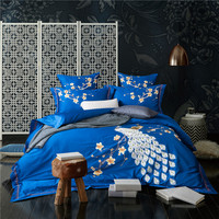 4/6Pcs Egyptian Cotton Peocock Embroidery Oriental Luxury Bedding Set Blue Red King Queen Size Modern Duvet Cover Bed sheet set