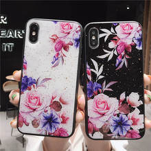 Gold Foil Flower Silicon Phone Case For iPhone 7 8 Plus XS Max XR Rose Floral Cases X 6 6S Soft TPU Cover