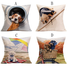Nueva funda de cojín de diseño Vintage con diseño de perro bonito, funda de cojín para cintura para sofá cama cuadrada de 45cm