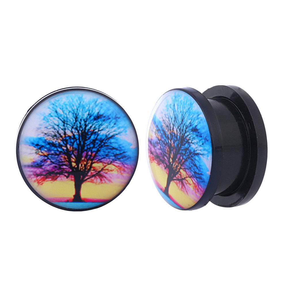 2PCS Acrylic Ear expanders Screw Fit Ear Plugs Tunnels World Trees 6mm 8mm 10mm 12mm 14mm 16mm Flesh Tunnels Ear Stretcher Rings image