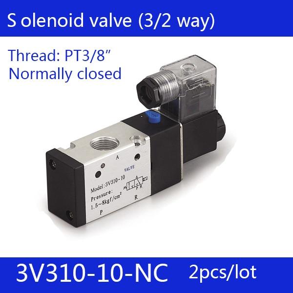 2PCS Free shipping Pneumatic valve solenoid valve 3V310-10-NC Normally closed DC12V 24V AC220V,3/8 , 3 port 2 position 3/2 way 2pcs free shipping 3 port 2 position solenoid valve coil belt line type 3v110 06 no normally open 1 8 dc12v dc24v ac220v