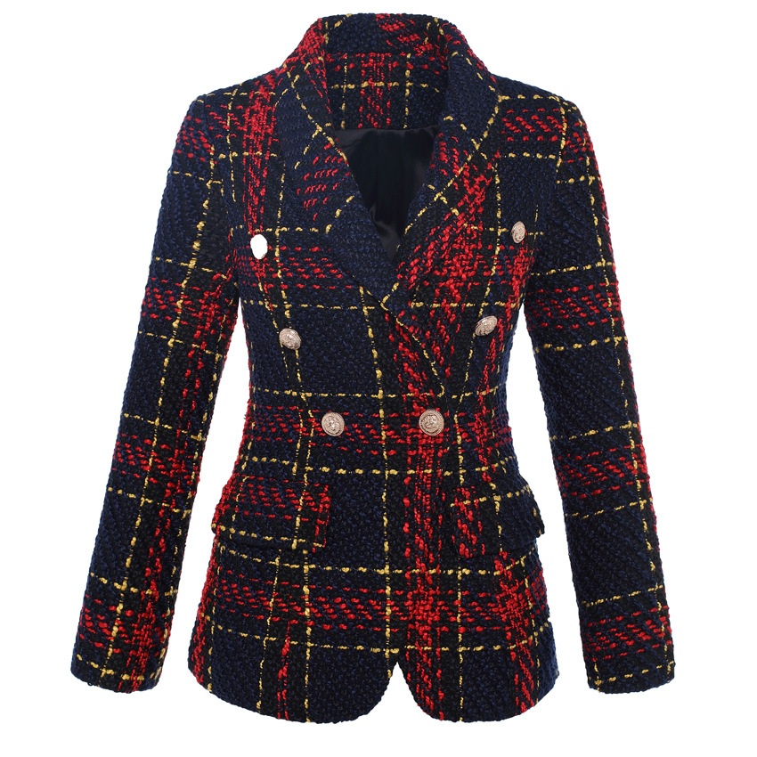 High Quality New Stylish Designer Blazer Women's Double Breasted Lion Metal Buttons Plaid Tweed Wool Blazer Outer Coat