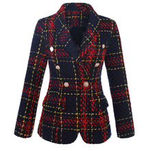 HIGH QUALITY New Stylish 2020 Designer Blazer Womens Double Breasted Lion Metal Buttons Plaid Tweed Wool Blazer Outer Coat