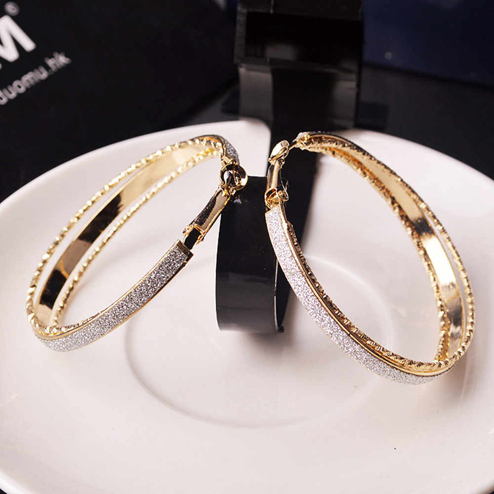 Vintage Gold Color Big Circle Hoop Earrings for Women Steampunk Ear Clip Party Jewelry Accessories Gift Big Hoop Earrings