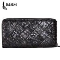 Luxury Crocodile Skin Genuine Leather Wallet Men Clutch Wallet Long Zipper Purse For Men Fashion Credit Card Holder Purse Black