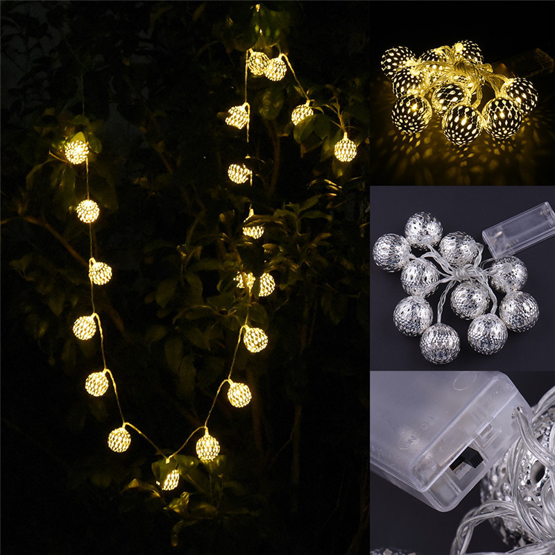 2m 20 lights silver morocco ball led string lights - Indoor string lights ideas ...