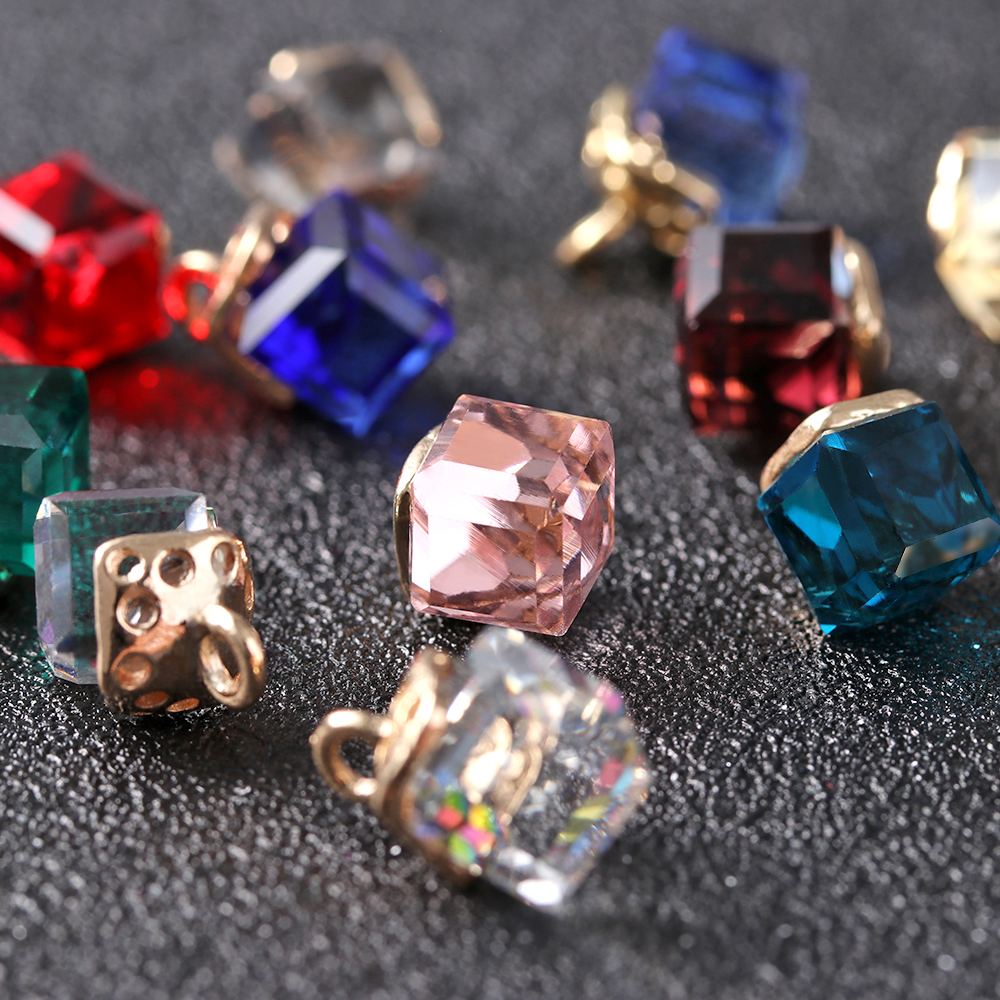 Jewelry Cube Glass Loose Beads 14 Colors Square Shape 2mm Hole Austrian Crystal Beads for Bracelet DIY Making 10pcs