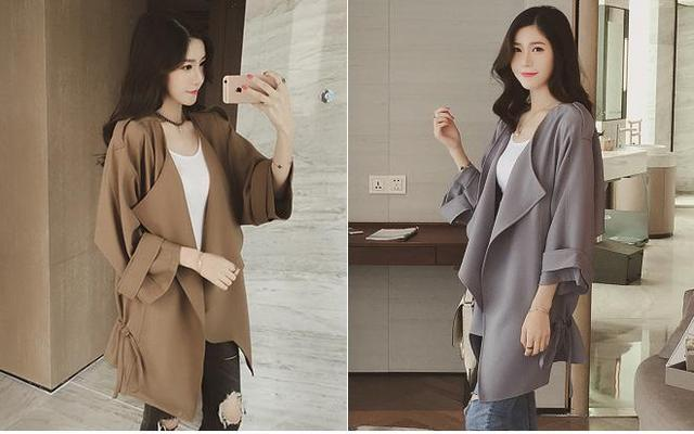 Осень 2016 новая версия свободную рубашку рукав летучая мышь ветровка женщины долго отдых куртка