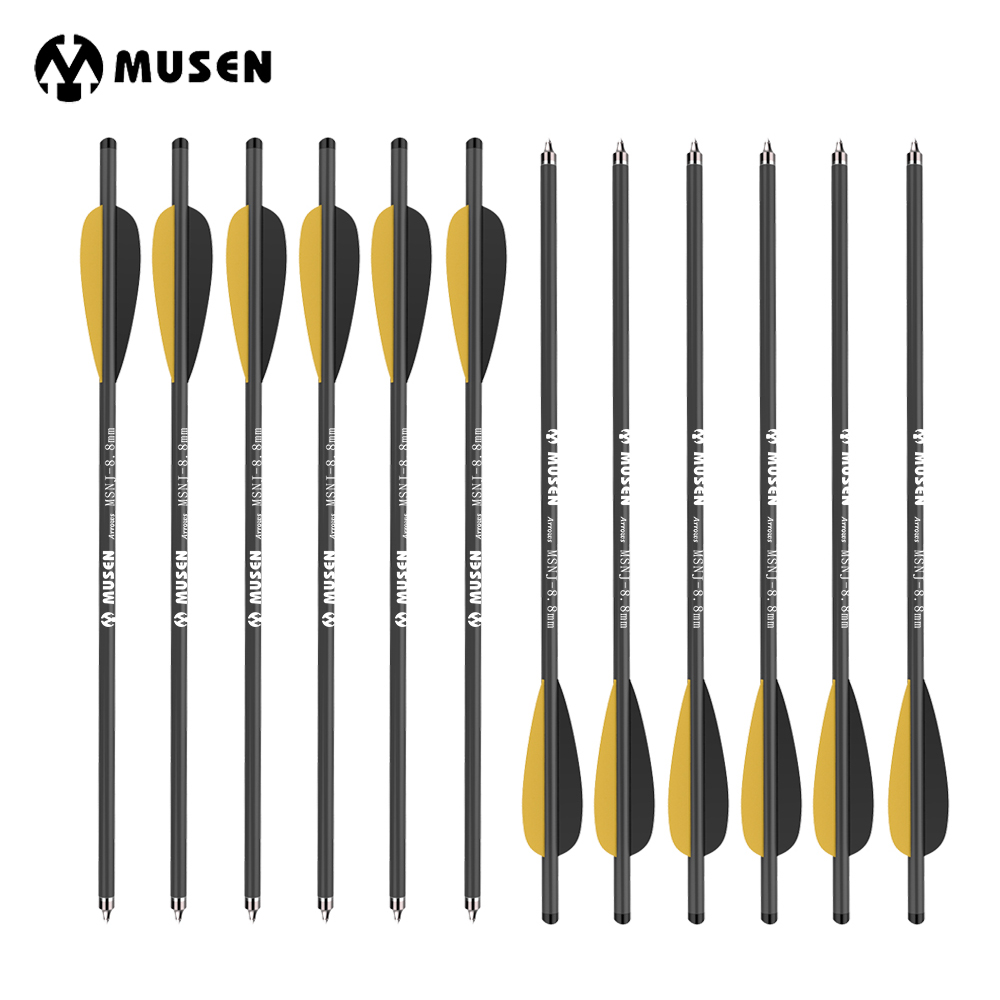 12/24pcs 20 Inches Crossbow Carbon Arrow Target Arrows with 125 Grain Crossbow Arrow Broadheads 2 Yellow 1 Black Feather Hunting