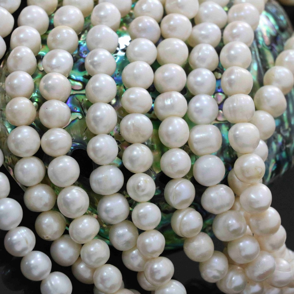 9-10mm round natural freshwater cultured white pearl loose beads charms new fashion women diy jewelry making 15inch B1373