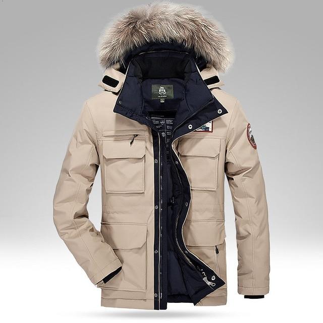 new product 055d0 d2eef US $109.52  Inverno Addensare Anatra Piumini Per Gli Uomini 2016 pantaloni  Casual Multi tasca Disegno Giacca A Vento Uomo Parka Più Il Formato M XXXXL  ...