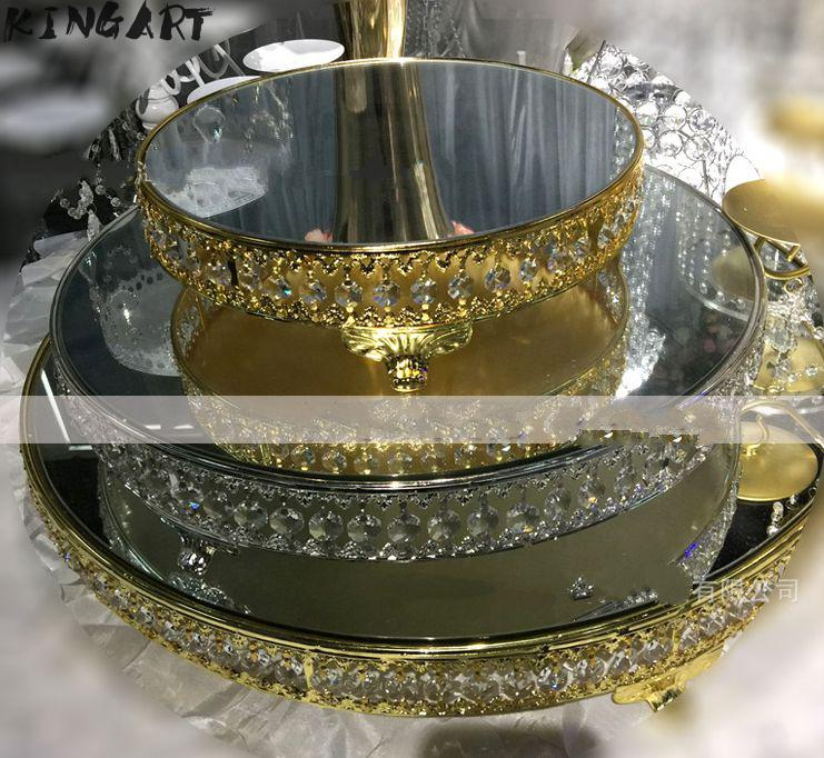 Plateau d'assiettes en verre décoratif | Miroir d'assiettes décoratives pour gâteau de mariage, plateau de service de gâteaux de noël support de gâteaux de fête - 4