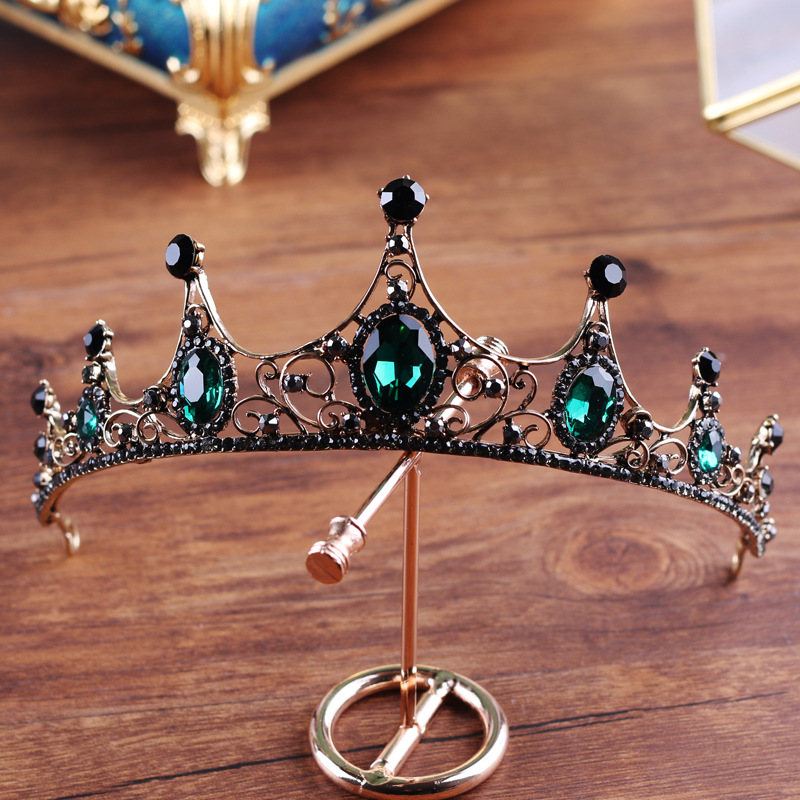 Black crown bridal Tiaras Princess Queen headband Pageant Baroque Crowns Bridal Hair Jewelry Accessories wedding hair jewelry