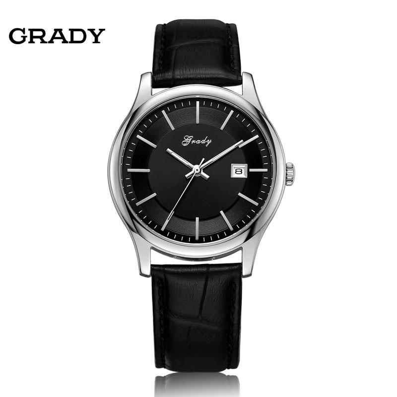 GRADY leather watch men watches fashion quartz wrist watch free shipping relogio masculino free shipping 1pc quartz watch impulse