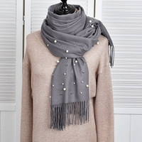 New Solid Color 2017 Winter Women Scarf With Tassels Long Fashionable Stylish Ladies Shawls Pearls Scarves