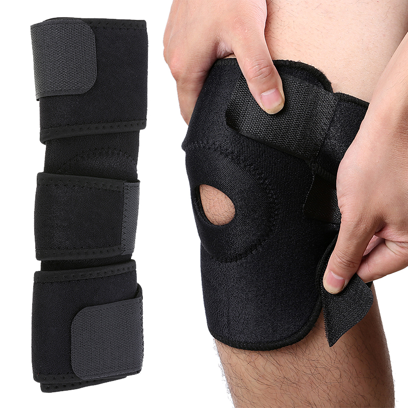 Mayitr 1pc Outdoor Exercise knee brace Black Elastic Adjustable Knee Support Professional Sport Safety Knee Strap