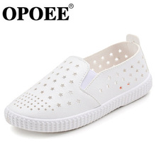 OPOEE Kids Casual Shoes for Summer 2017 New Hot Hollow Out Loafers Boys Girls White Shoes Slip on Breathable Sandals Size 25-37