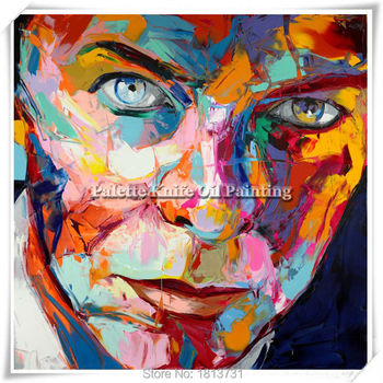 Portrait Face Oil painting Palette Knife Impasto figure canvas Hand painted Francoise Nielly Wall Art Pictures for living room 1