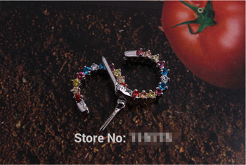 1 pcs 316L Stainless Steel Septum With 11 Kristall Clicker Ring Piercing Sign Helix Multi Color Nose Piercing 1.2mm image
