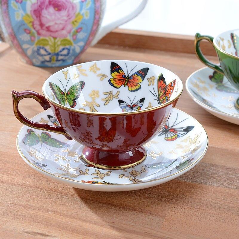 bone china butterfly coffee <font><b>cup</b></font> <font><b>saucer</b></font> finest quality <font><b>porcelain</b></font> mug with an elegant 24ct gold trim beautiful collection