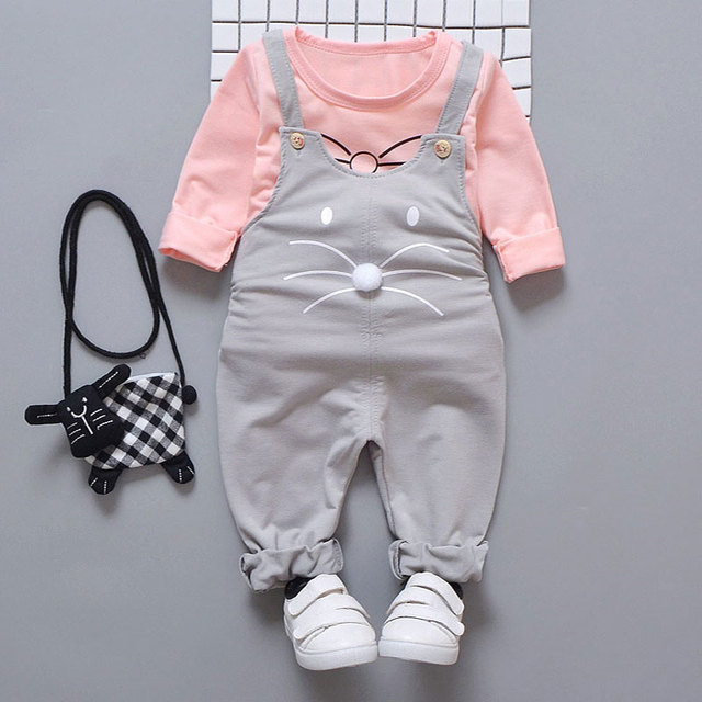 Spring newborn baby girls clothes sets fashion suit T-shirt + pants suit baby girls outside wear  sports suit clothing sets 4