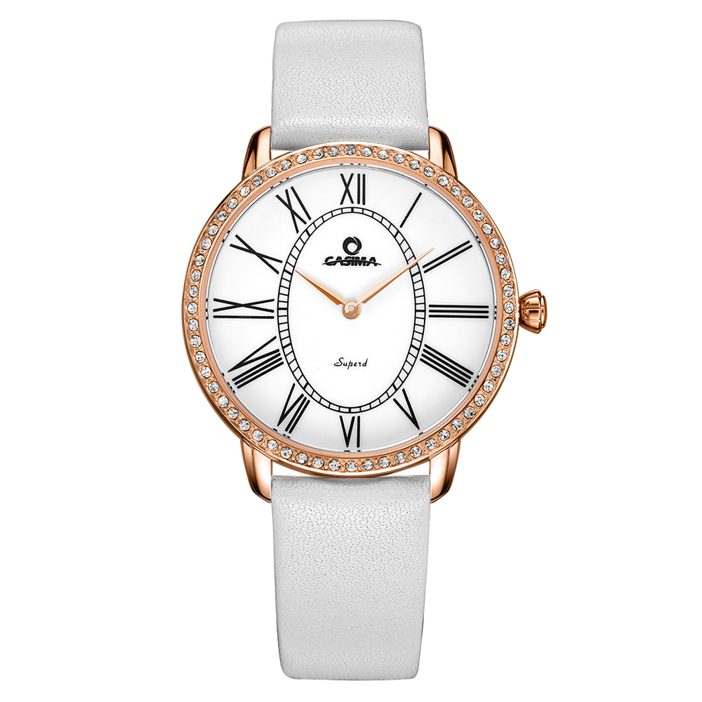 ФОТО Relogio feminino Luxury Brand Fashion Casual Dress Crystal womens quartz Wrist watch Leather strap waterproof CASIMA#2615
